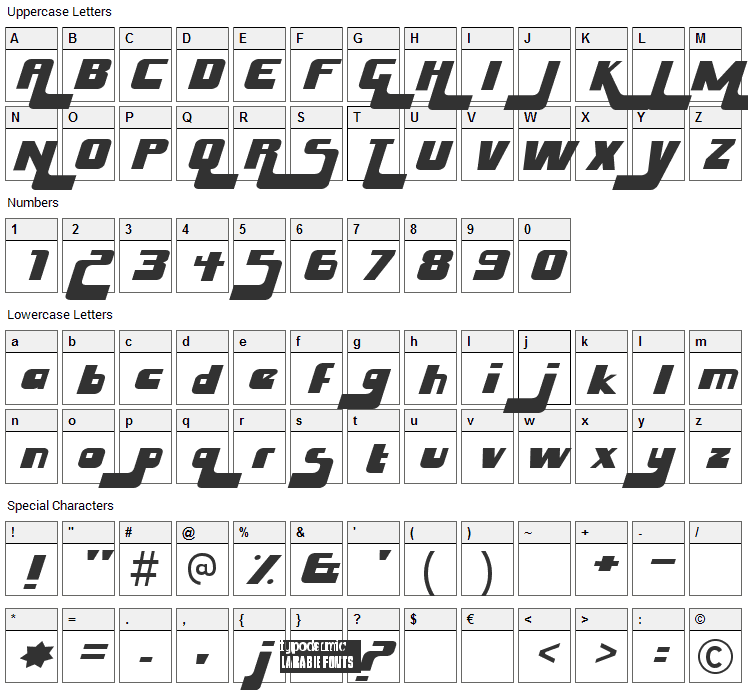 Husky Stash Font Character Map