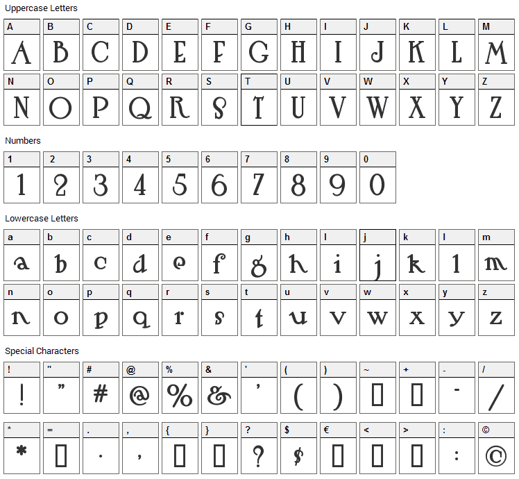 Hut Sut Ralston Font Character Map
