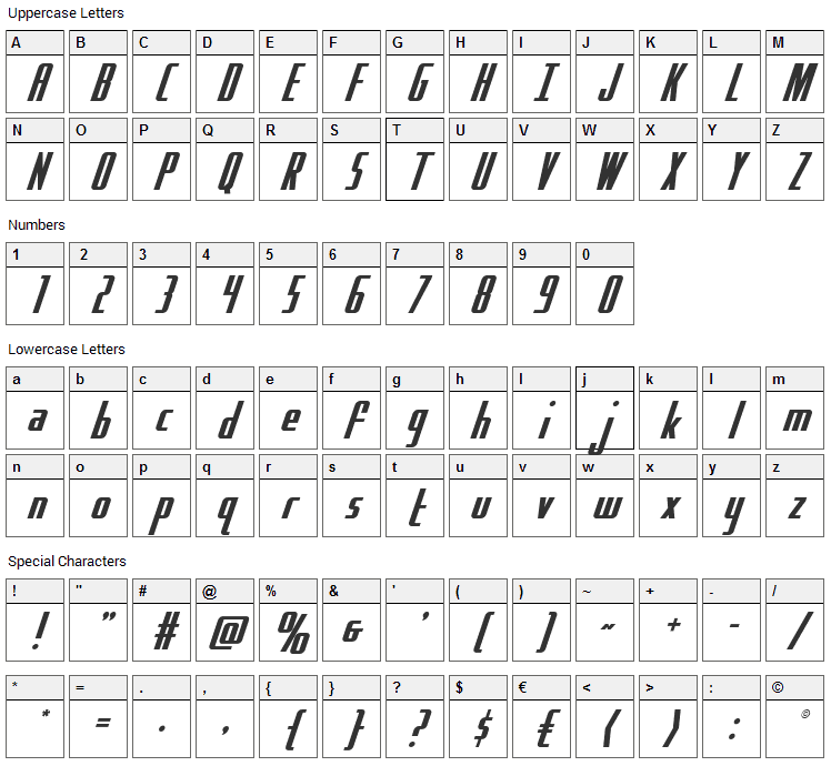 Hydro Squad Font Character Map