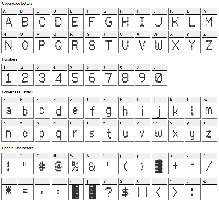 Hydrogen Type Font Character Map