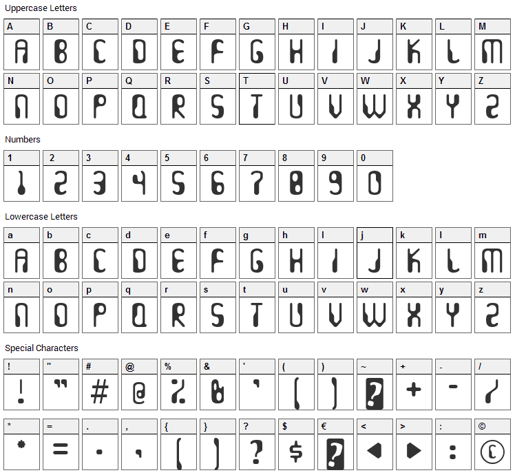 Hydrogen Whiskey Font Character Map