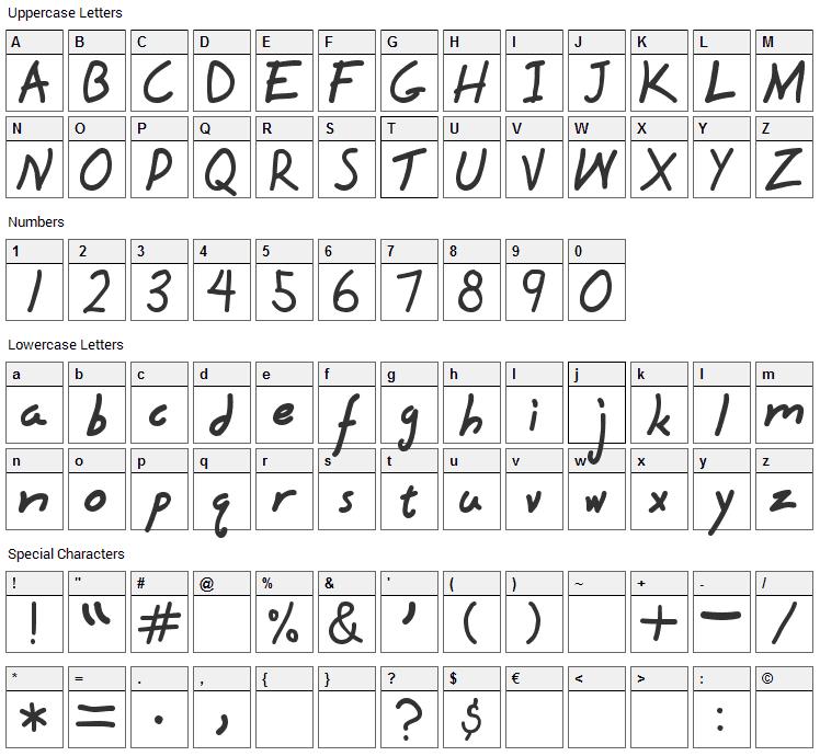 Hyena Font Character Map
