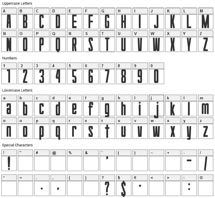 Hyouzi Display Font Character Map