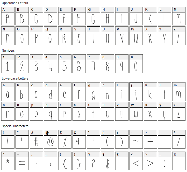 Hyperness Font Character Map