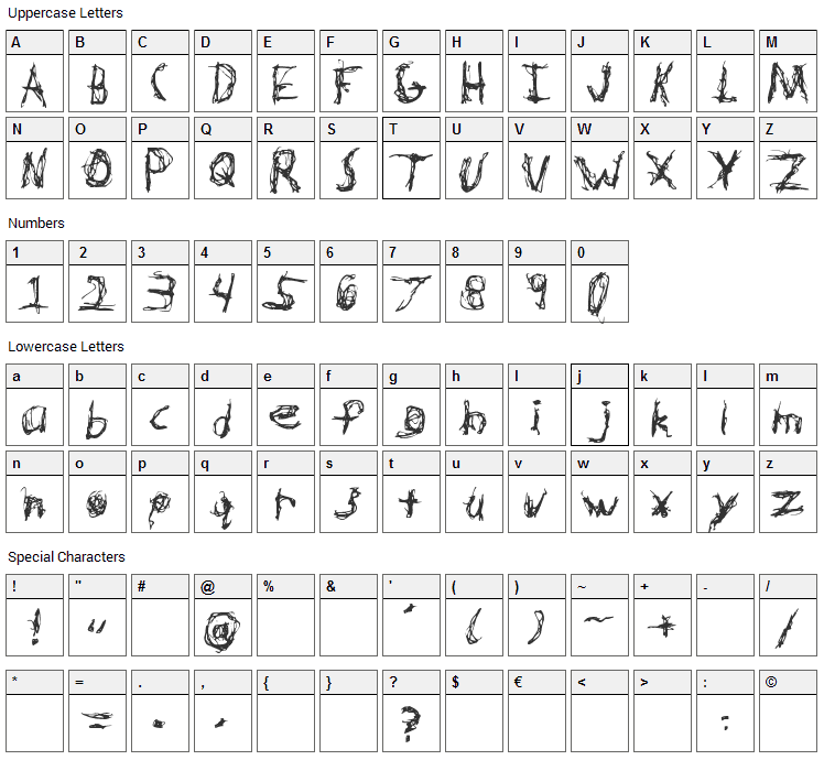 Hypertension Font Character Map