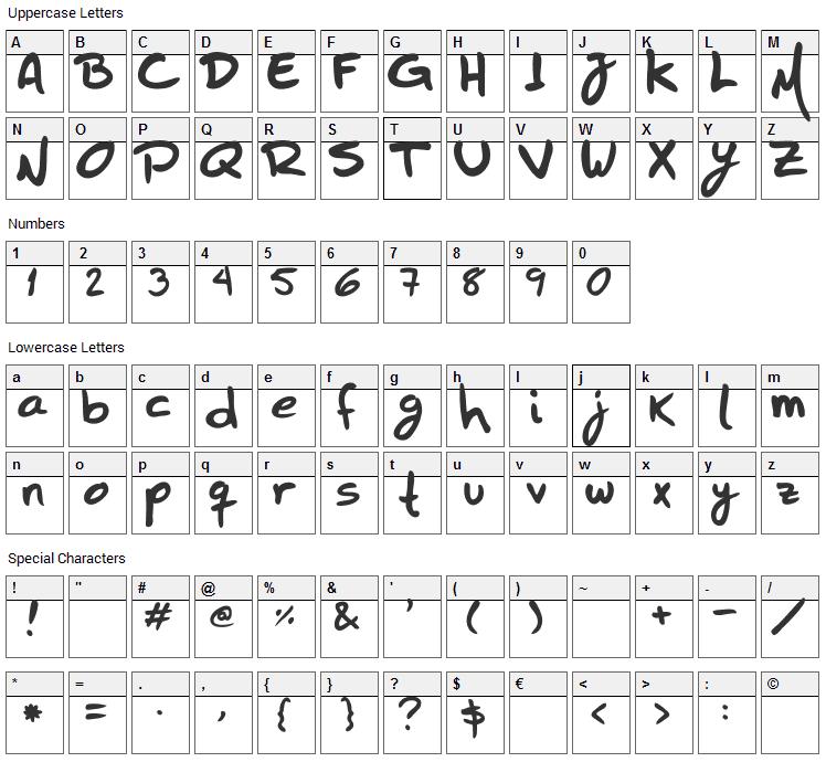 HZHandwrite Font Character Map