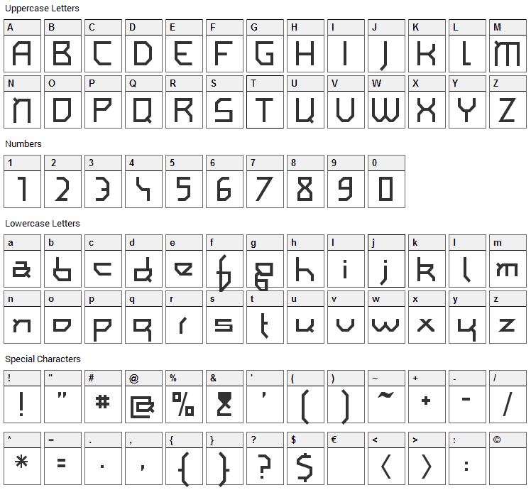 I am simplified Font Character Map