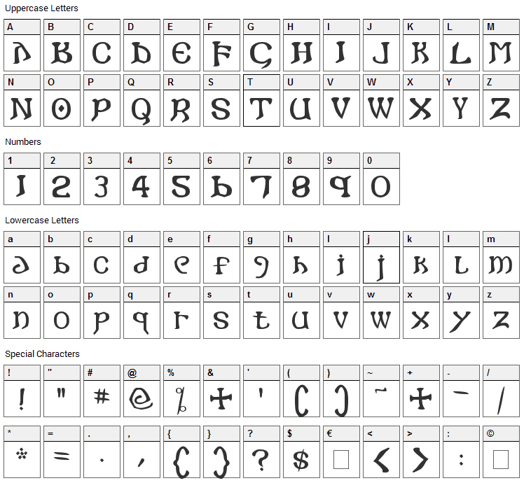 I crashed into Gothic Font Character Map