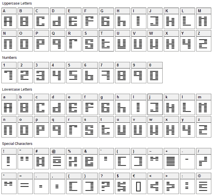 I Ging Font Character Map