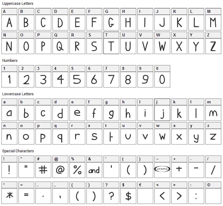 I hate Comic Sans Font Character Map
