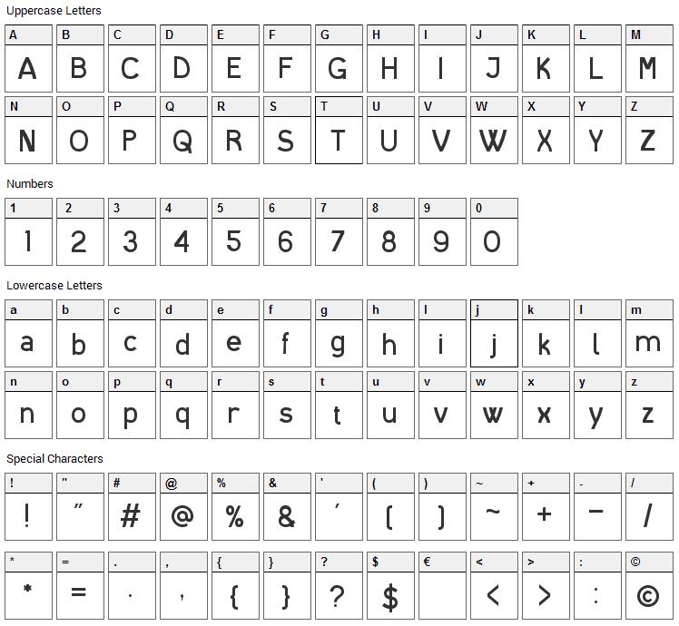 I Shot The Serif Font Character Map