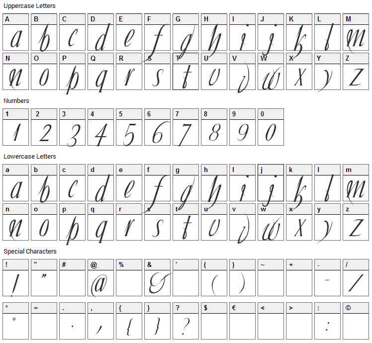 Ibleum Font Character Map