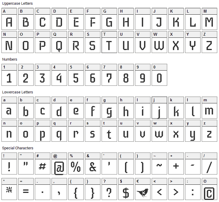 Iceberg Font Character Map