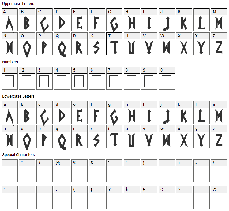 Iced Earth Font Character Map