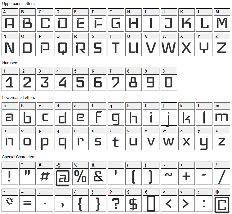 Iceland Font Character Map