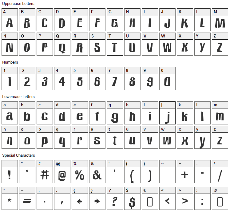Icicle Country Two Font Character Map