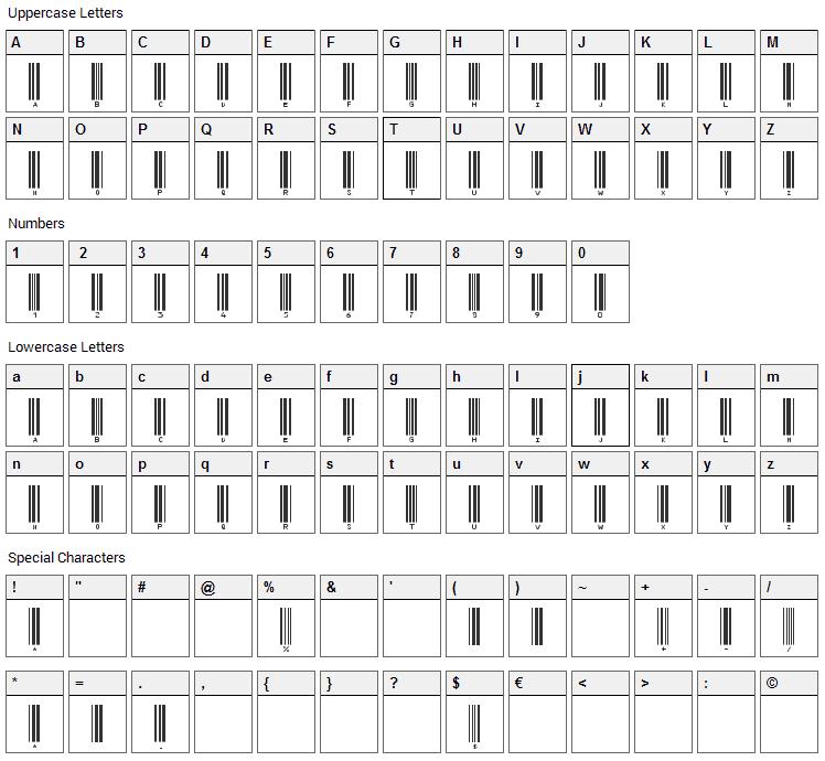 IDAutomationHC39M Font Character Map