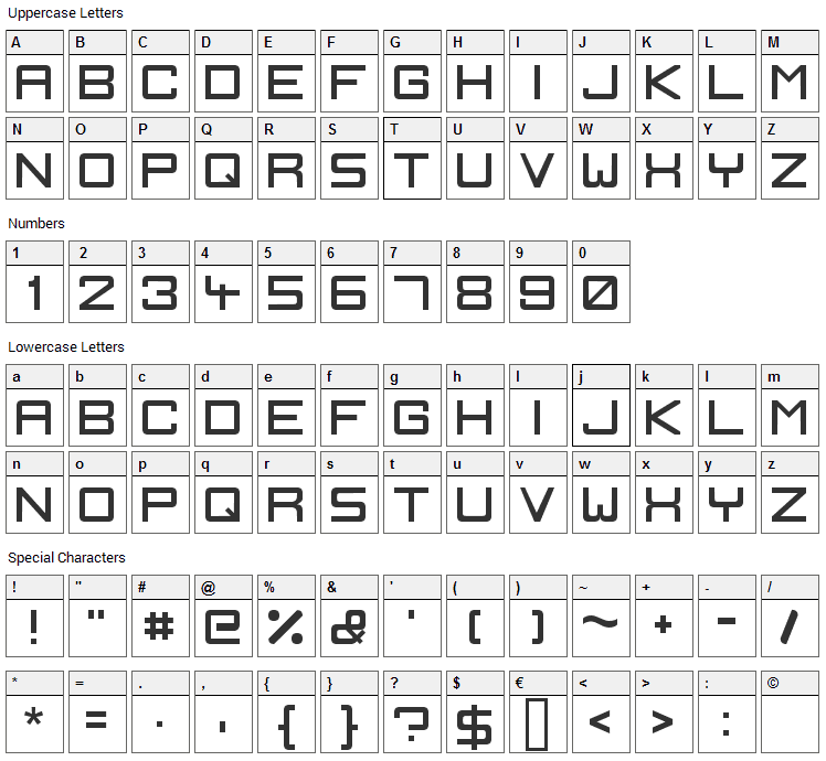 Ignis et Glacies Sharp Font Character Map
