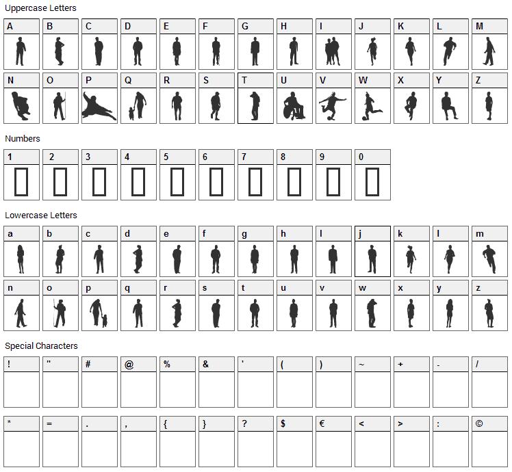 Ihminen Font Character Map