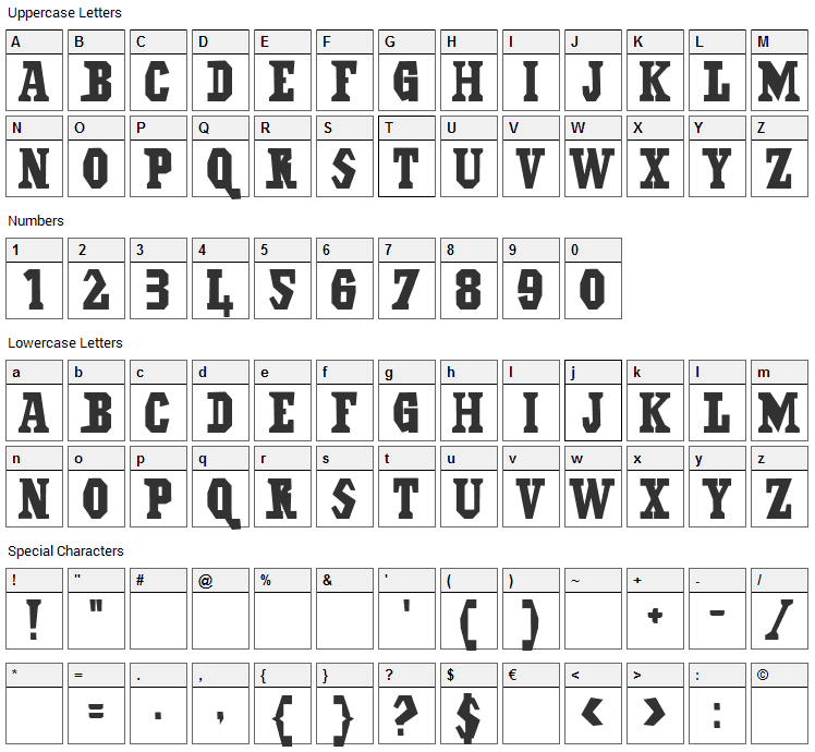 Il Grinta Font Character Map