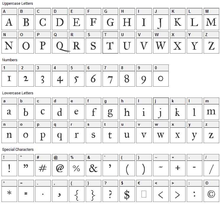 IM Fell Great Primer Font Character Map