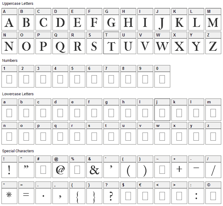 IM Fell Three Line Pica Font Character Map