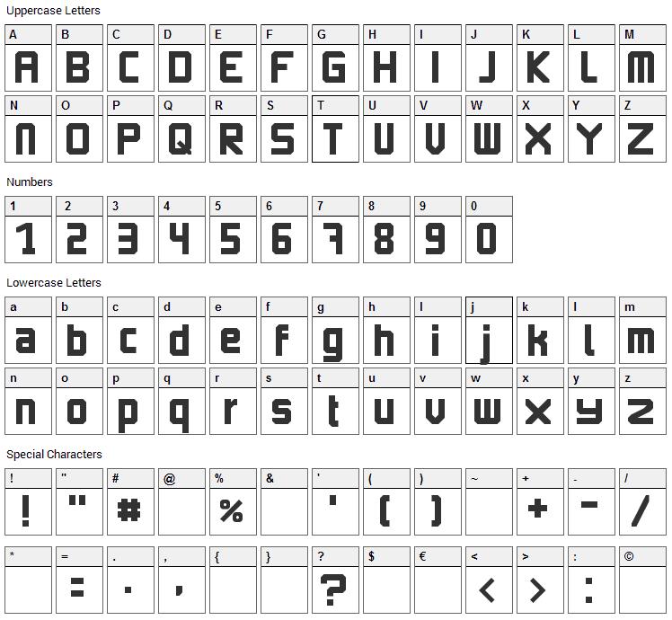 Imagine Earth Font Character Map