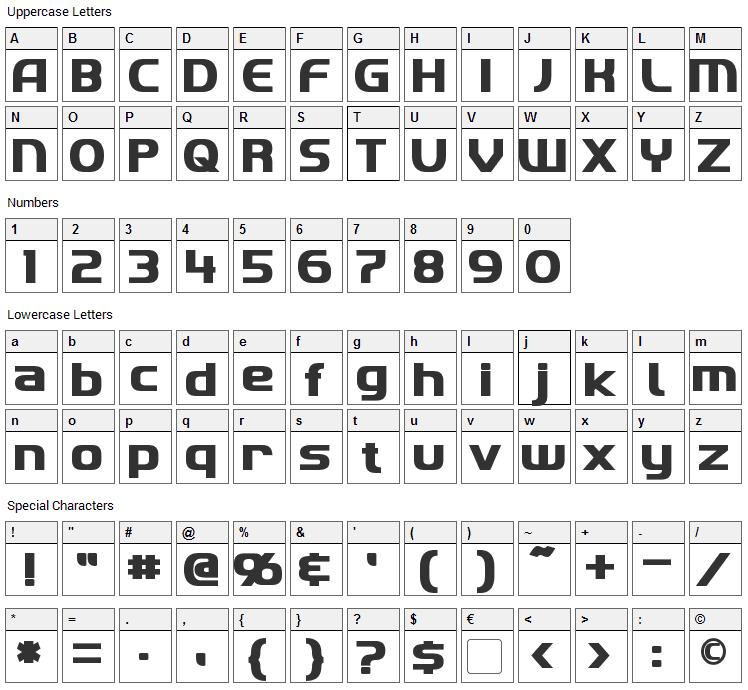 Imaki Font Character Map