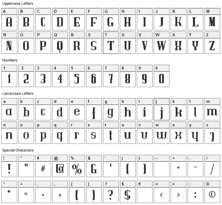 Immermann Font Character Map