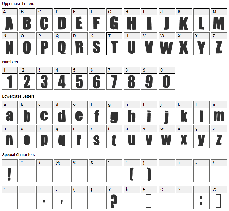 Impacted Font Character Map