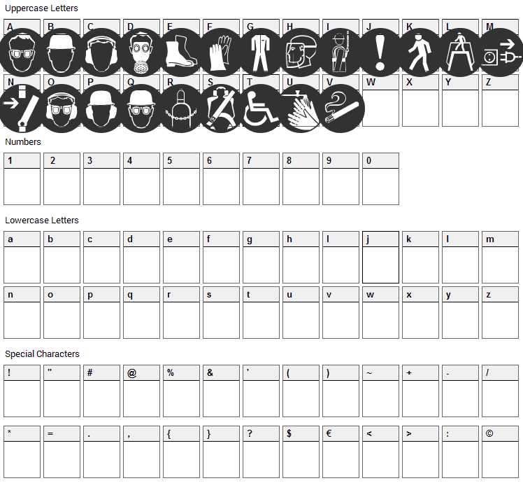 Imperatives Tables Font Character Map