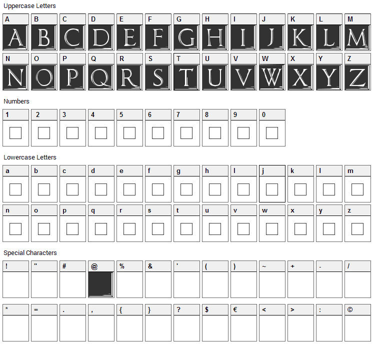 Imperator Plaque Font Character Map
