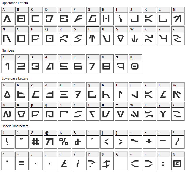 Imperial Code Font Character Map
