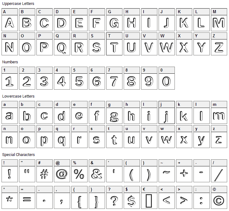 Impressed Metal Font Character Map