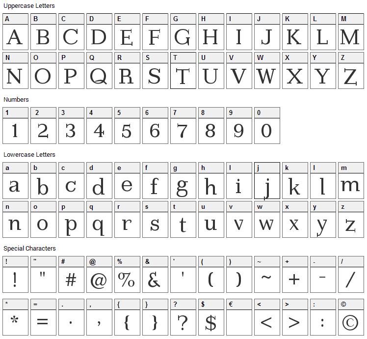 Imprimerie Font Character Map
