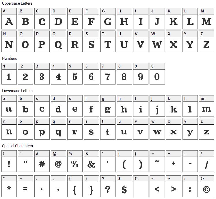 Improvisation Font Character Map
