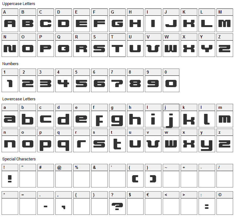 Improvise V9 Font Character Map