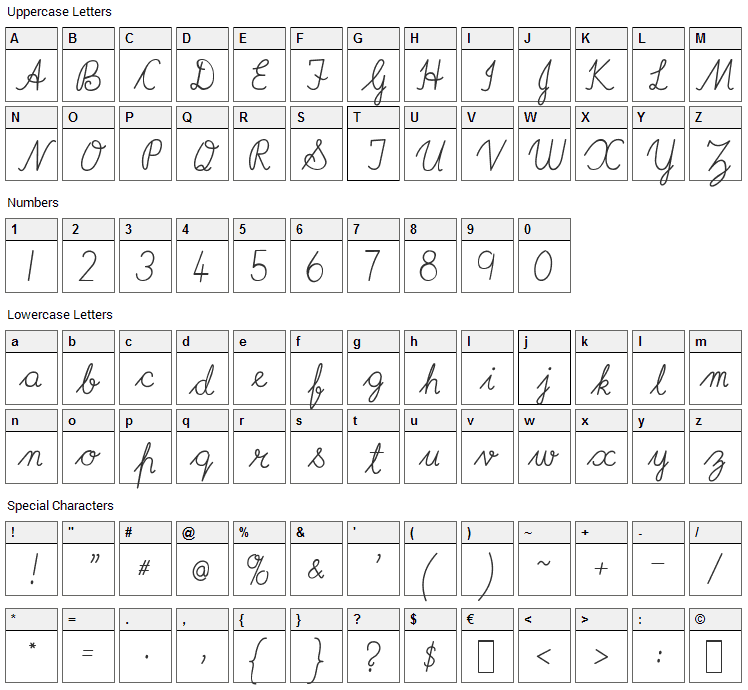 Imrans School Font Character Map