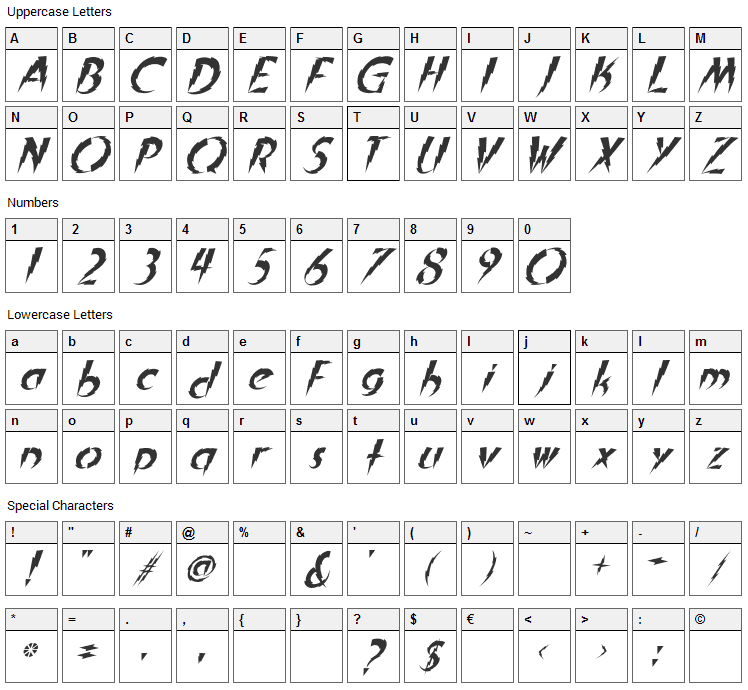 In A Flash Font Character Map