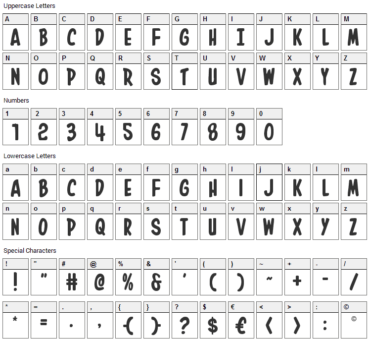 In-House Edition Font Character Map