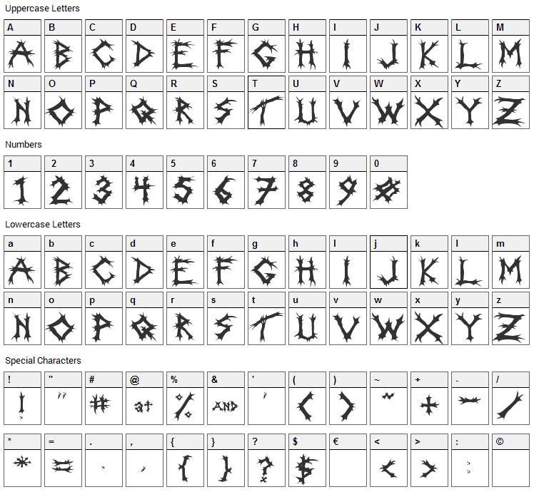 Incantation Font Character Map