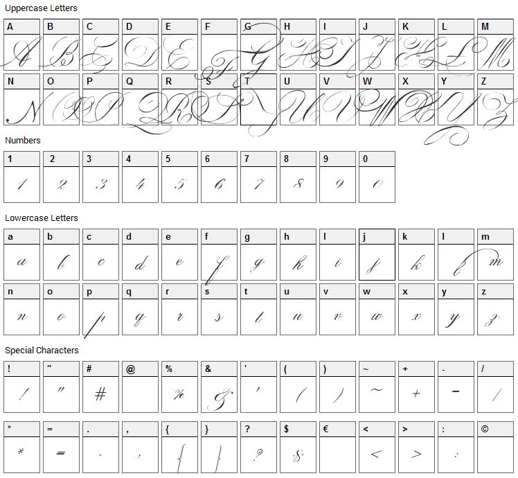 Indenture English Penman Font Character Map