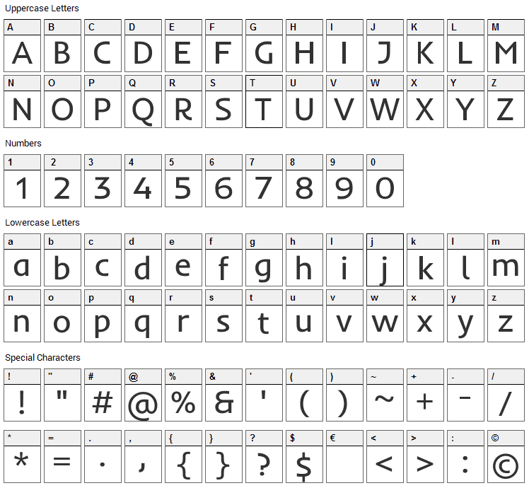 Inder Font Character Map