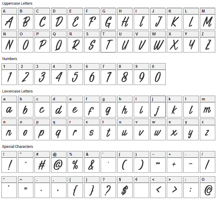 Indian Roller Font Character Map