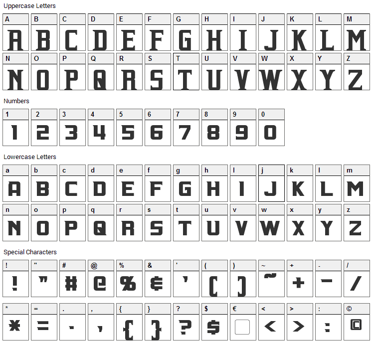 Indiana Font Character Map
