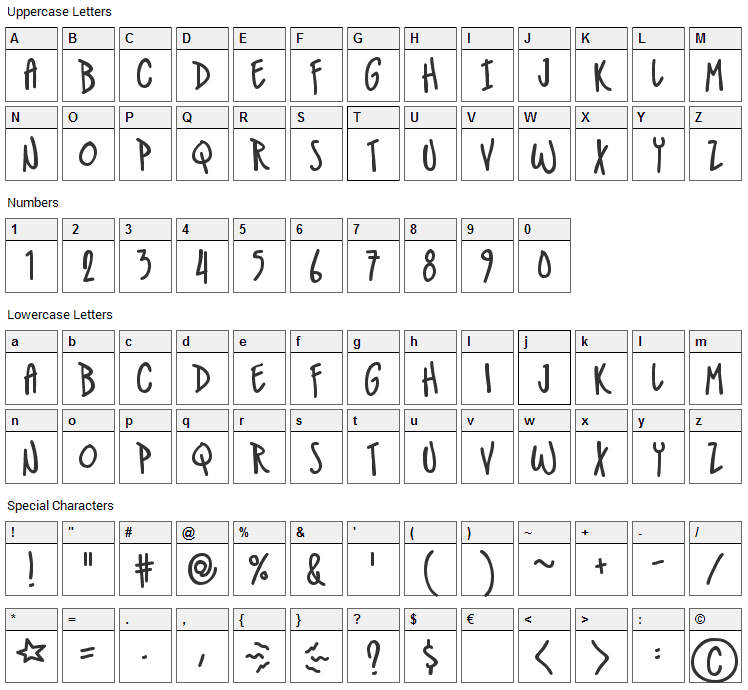 IndieStar Font Character Map