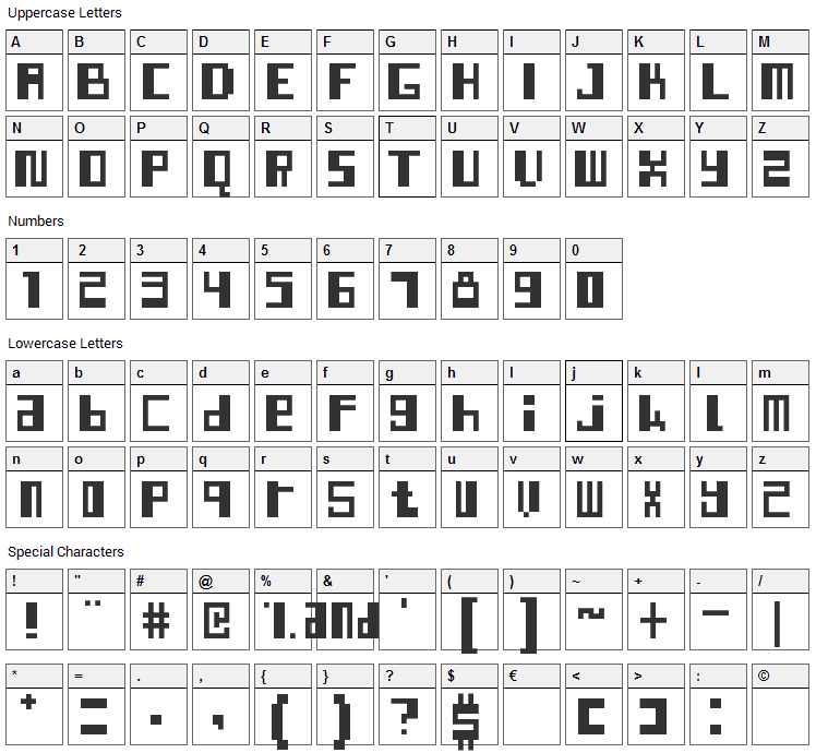 Indo-Malay Confrontation Font Character Map