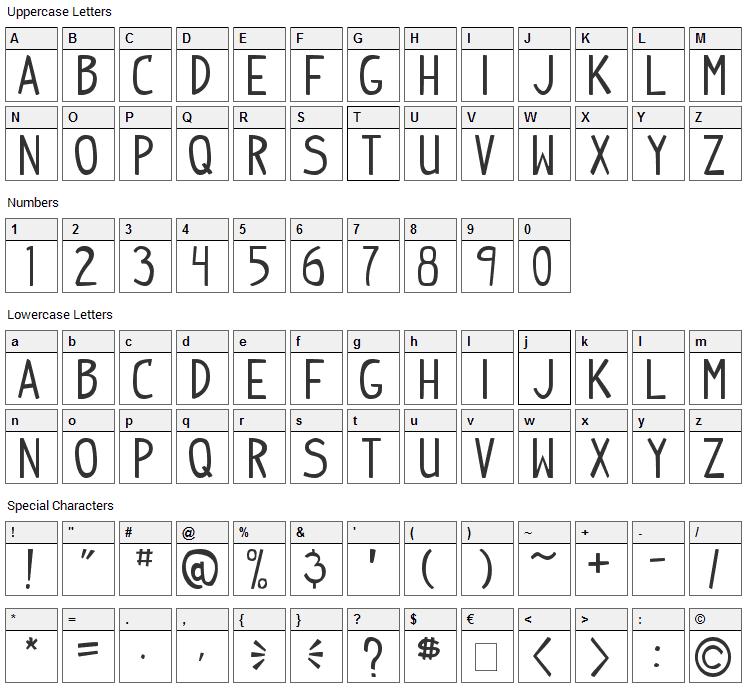 Indy Pimp Font Character Map