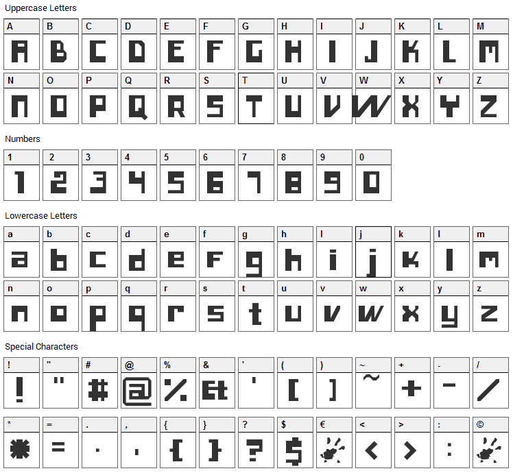 Inero Font Character Map