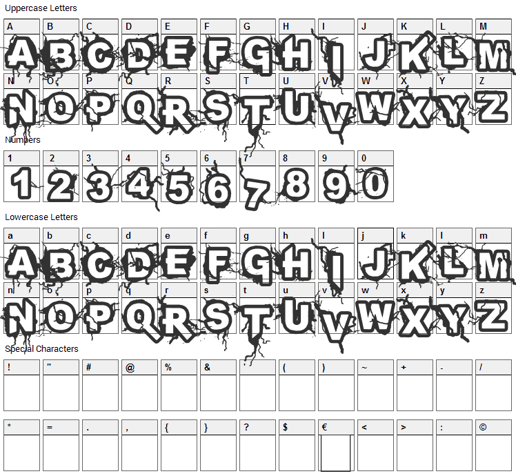 Infected Font Character Map